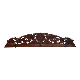Antique Hand Carved Wall Coat Rack