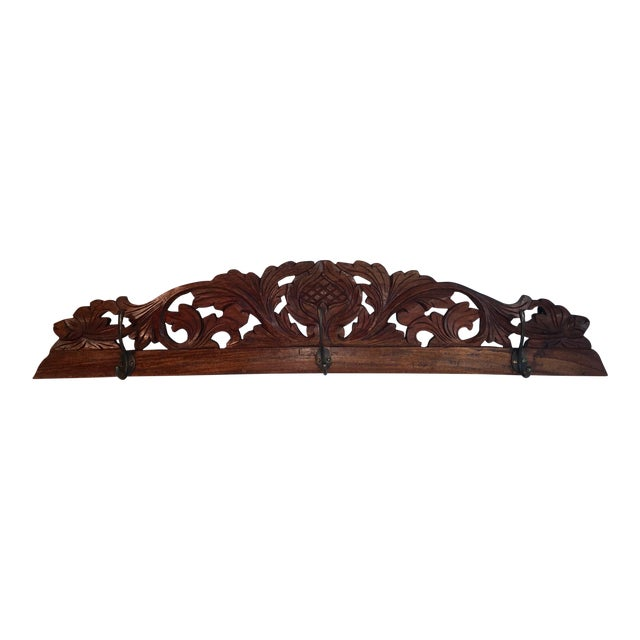 Antique Hand Carved Wall Coat Rack For Sale