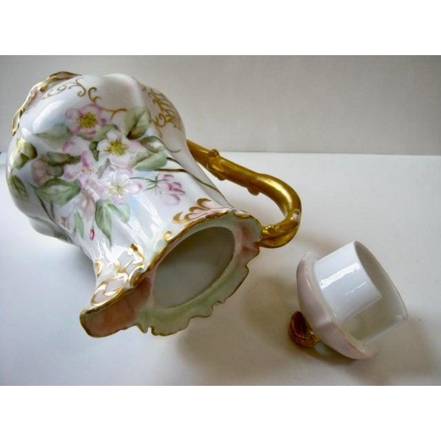 Antique Late 19th Century Limoges France Hand Painted Apple Blossom Chocolate / Cocoa Pot For Sale In Providence - Image 6 of 7