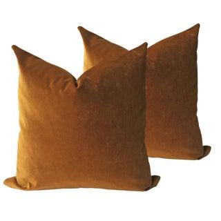 Brown Velvet Pillows - a Pair