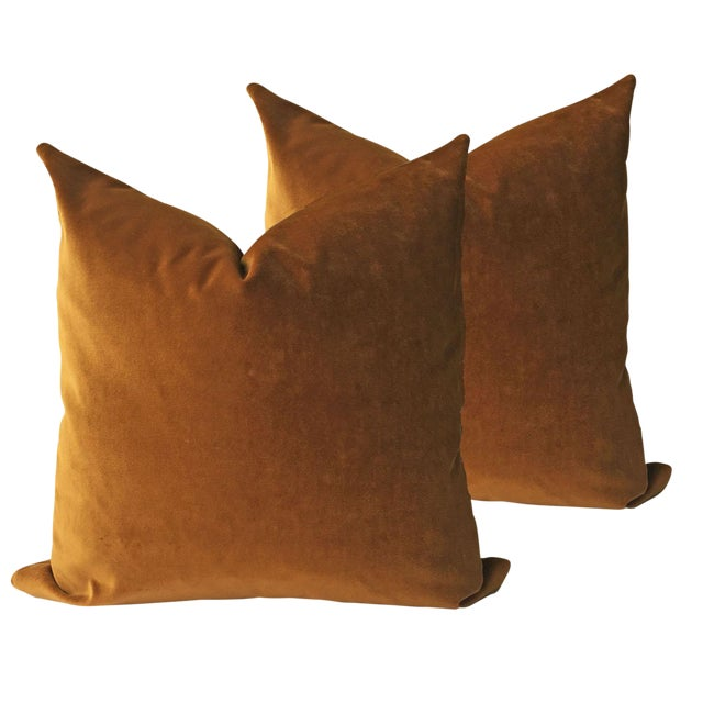 Brown Velvet Pillows - a Pair - Image 1 of 5
