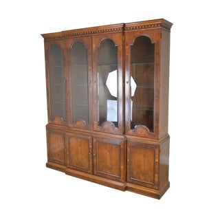 Henredon Large Inlaid Yew Wood Breakfront Bookcase (B) For Sale