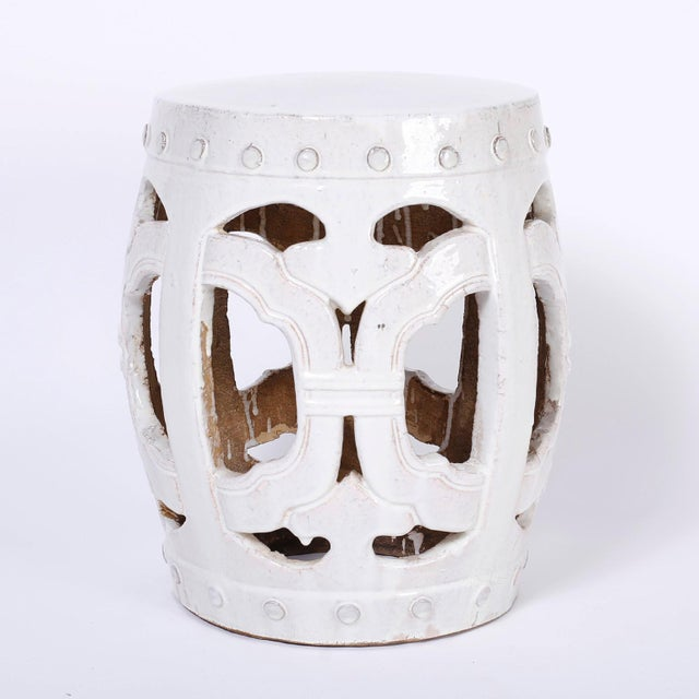 Asian White Chinese Garden Seats - A Pair For Sale - Image 3 of 7
