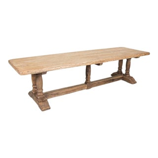 19th Century French Bleached Oak Baluster Leg Trestle Table For Sale