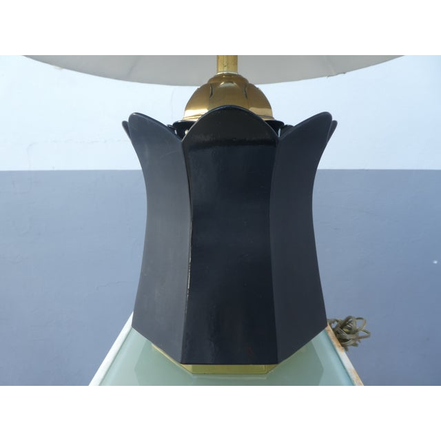 Metal 70's Brass and Black Ceramic Decorator Accent Lamp For Sale - Image 7 of 13