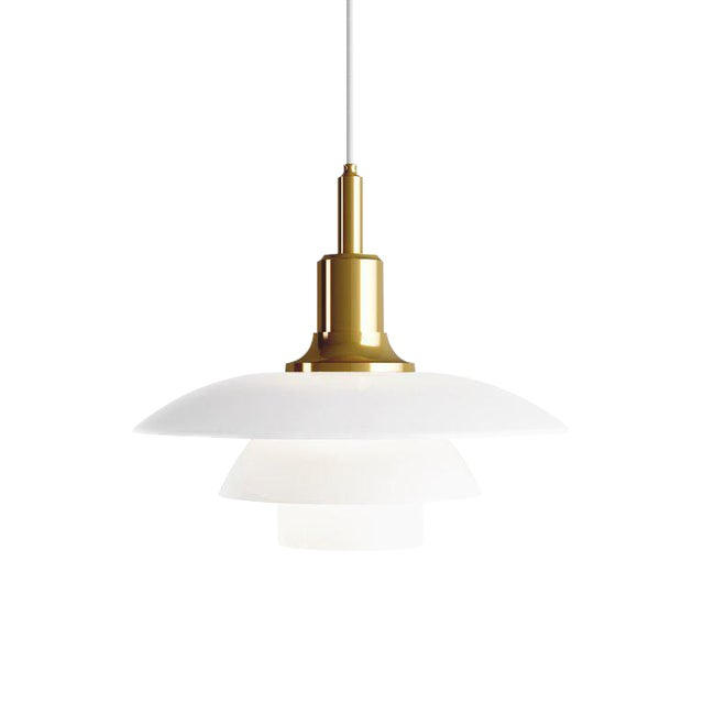 Poul Henningsen Brass and Glass Ph 3½-3 Pendant for Louis Poulsen For Sale