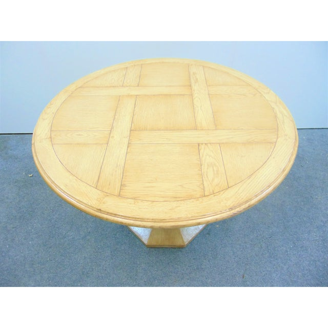Country French style oak dining table, solid oak with a parquetry top, Bulbous pedestal base .