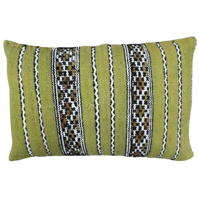 Green Moroccan Pillow W/ Stripes For Sale - Image 4 of 4