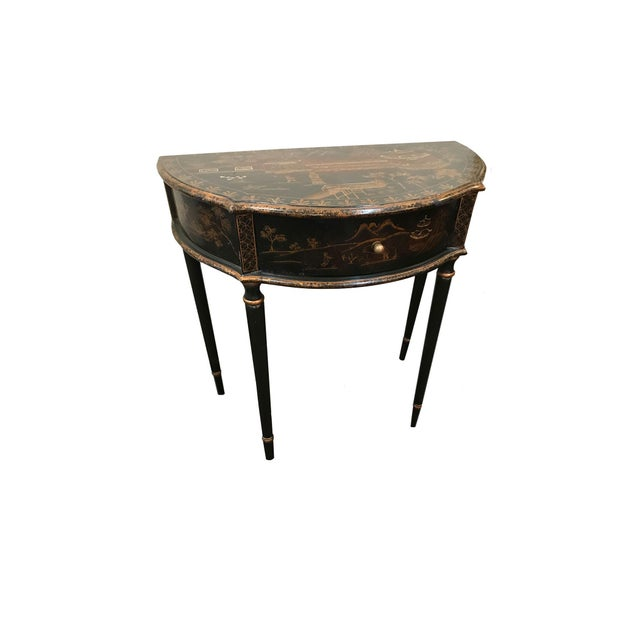 Chinoiserie Demi Lune Table With Drawer For Sale - Image 4 of 5