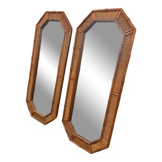 1960s Chippendale Faux Bamboo Wall Mirrors - a Pair