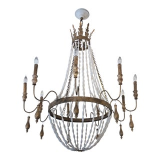 Gilded and White Bead Chandelier For Sale