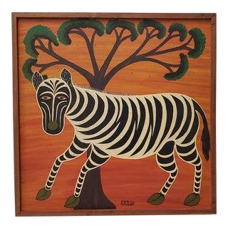 "Tedo Kaspar Henrick (Tanzanian, C. 1921-1981) ""Zebra"" Original Painting C.1970s For Sale"