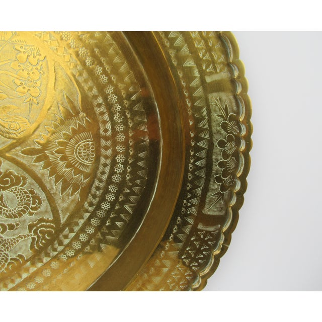 Vintage Mid-Century Large Chinese Oval-Shaped Brass Tray/Wall Hanging For Sale - Image 10 of 13