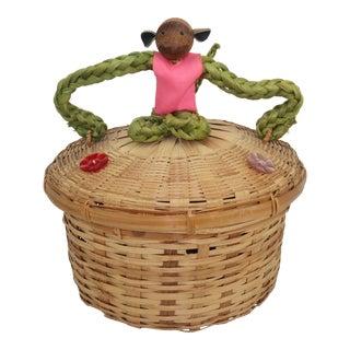Vintage Teak & Rope Monkey Basket For Sale