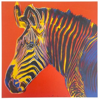 "Andy Warhol Estate Rare Vintage 1992 Endangered Species Collector's Pop Art Lithograph Print "" Grevy's Zebra "" 1983 For Sale"