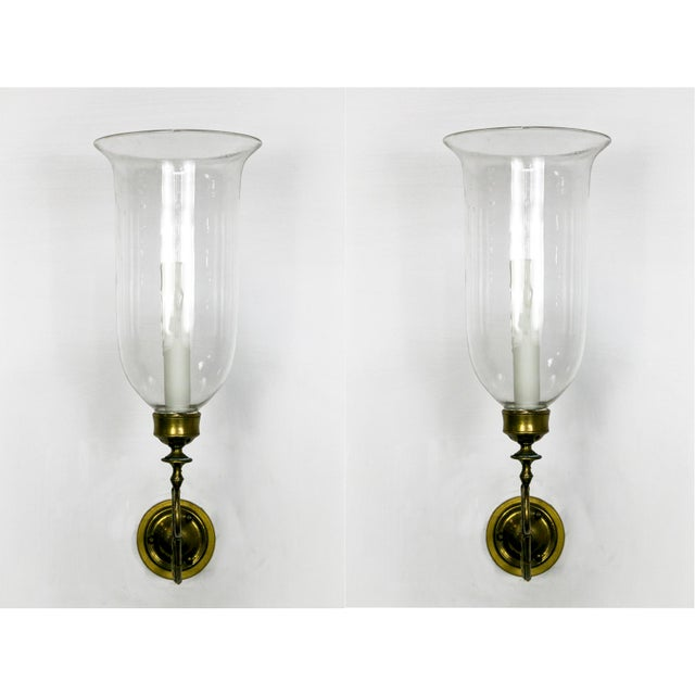 Blown Glass 19th Century Brass Scroll Hand Blown Glass Hurricane Sconces - a Pair For Sale - Image 7 of 7