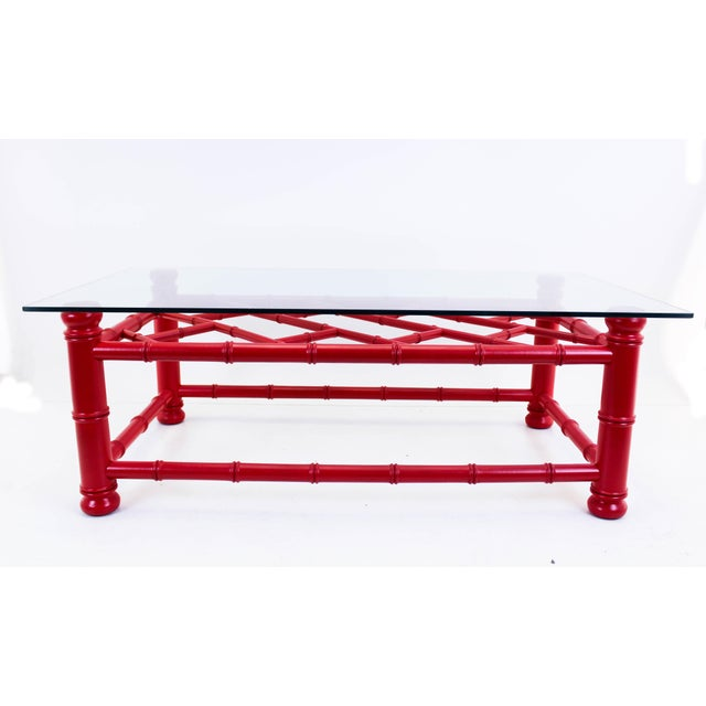 Red Palm Beach Style Coral Red Coffee Table For Sale - Image 8 of 9