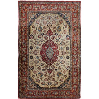 "Hand-Knotted Antique Isfahan Rug - 6'11"" x 4'8"" For Sale"