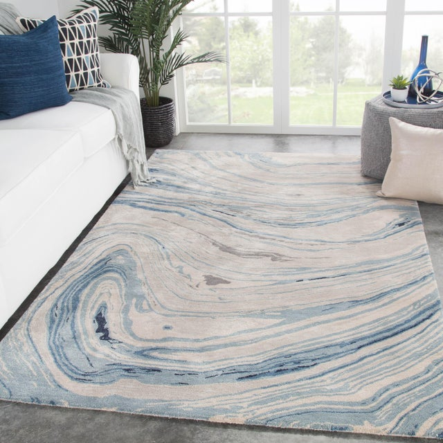 2010s Jaipur Living Atha Handmade Abstract Blue/ Gray Area Rug - 8′ × 11′ For Sale - Image 5 of 6