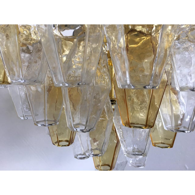 Early 21st Century Chandelier Murano Glass Poliedro Transparent and Gold and Amber For Sale - Image 5 of 13