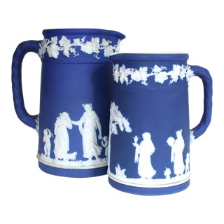 Early 20th Century Antique Blue Jasperware Wedgwood Pitchers - A Pair For Sale