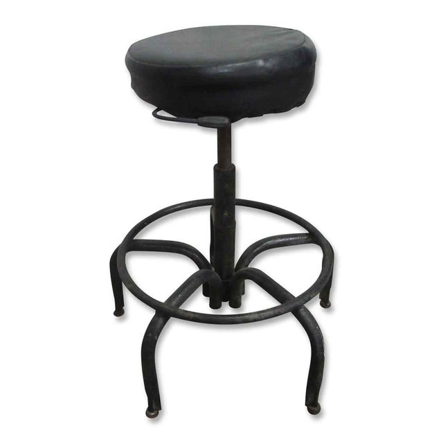 Vintage Black Cushioned Adjustable Stool For Sale - Image 6 of 7