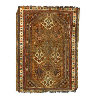 Early 20th Century Antique Persian Shiraz Ghashghaei Kilim Rug - 3′9″ × 5′5″ For Sale