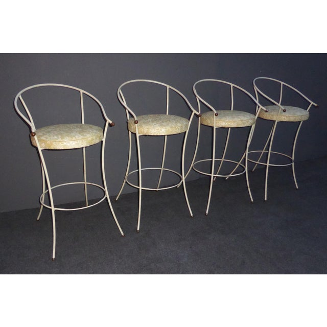 Vintage Mid-Century Modern White Wrought Iron Bar Stools- Set of 4 - Image 3 of 11