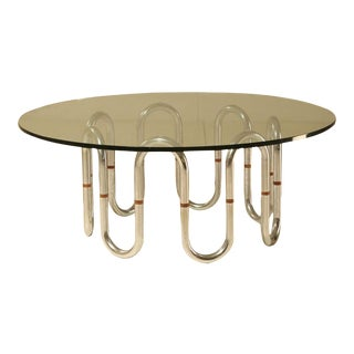 Sidetable with flexible chrome legs and wooden connections, 1960s For Sale