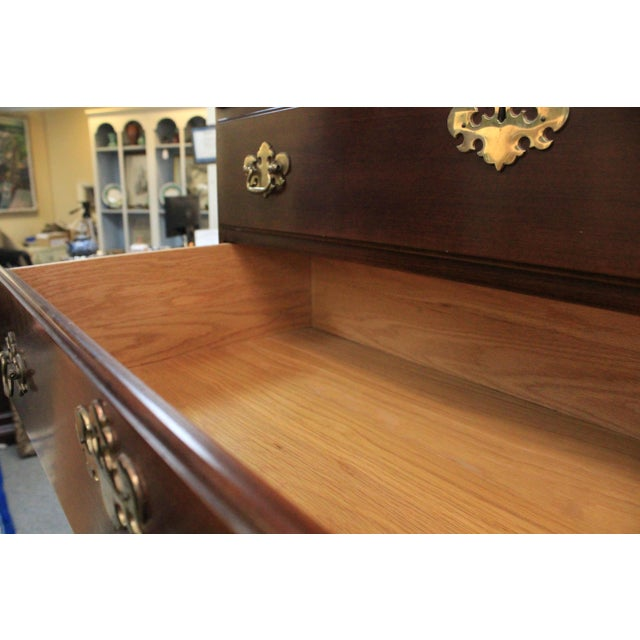 Cherry Wood Late 20th Century Queen Anne Style Cherry Highboy For Sale - Image 7 of 10