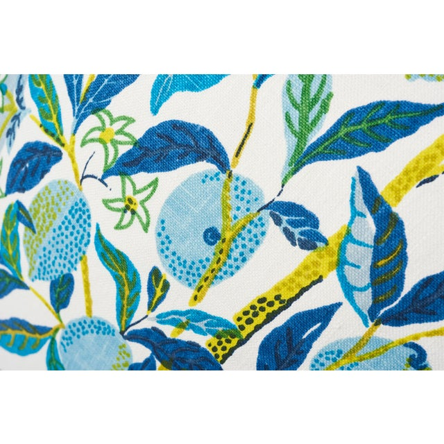 Schumacher Double-Sided Pillow in Citrus Garden Pool Blue Linen Print - Image 4 of 7