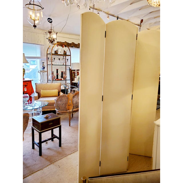 Upholstered 4 Panel Screen With Nailheads For Sale - Image 9 of 11