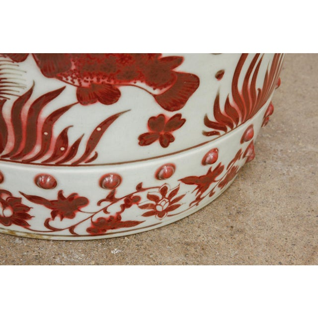Chinese Ceramic Aquatic Life Garden Stools or Drink Tables - a Pair For Sale - Image 10 of 13