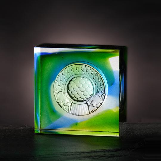 LIULI Crystal Art Mythical Dragon Fish Protector Paperweight, Mixed Colors For Sale - Image 4 of 6