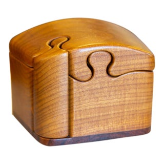1970's-80's Mid-Century Modern Marilyn and Fred Buss Puzzle Stash Box For Sale