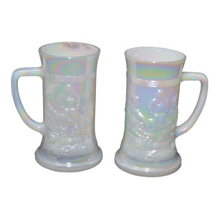 Federal Iridescent Tankards, 1950s - A Pair
