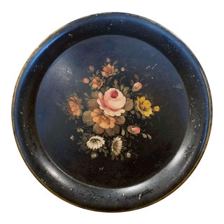 19th Century French Hand Painted Tole Tray With Floral Motifs For Sale