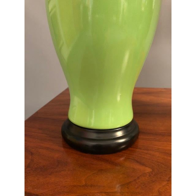 1970s Mid-Century Green Porcelain Table Lamps - a Pair For Sale - Image 5 of 9