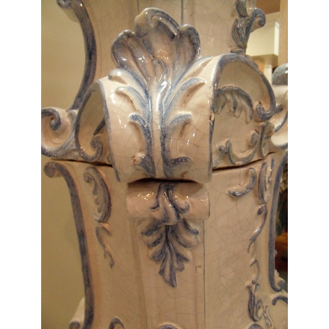Blue Italian Ceramic Delft Terracotta Parlor Stove For Sale - Image 8 of 13