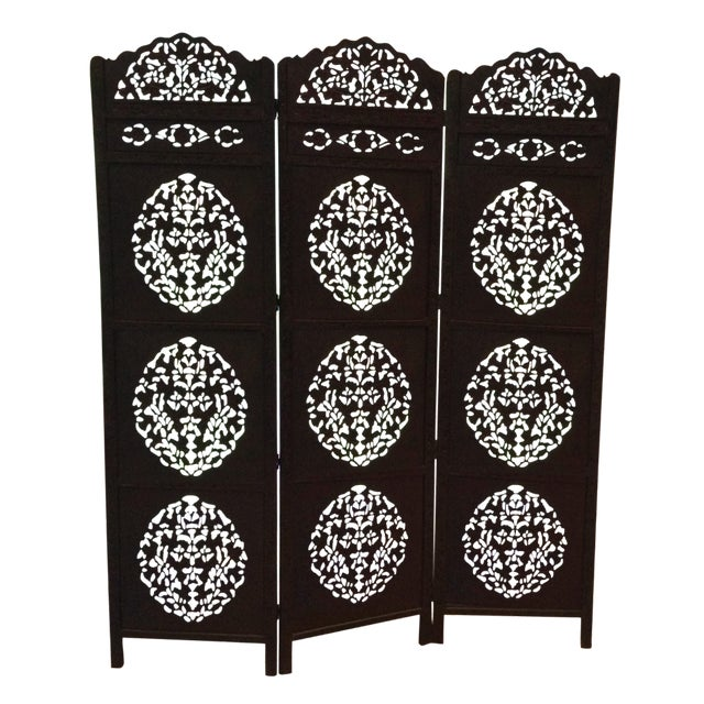 Moroccan Wooden Carved Screen - Image 1 of 5