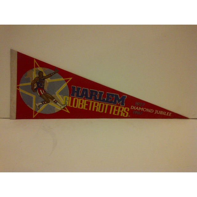 """Here is a vintage Harlem Globetrotters Basketball Team Pennant. """"1927-1987 -- Diamond Jubilee"""". In good condition for its..."""