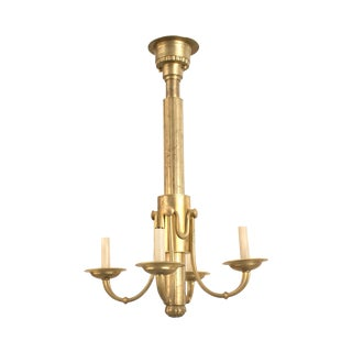 French 1940s Brass Chandeliers With Four Scroll Arms For Sale