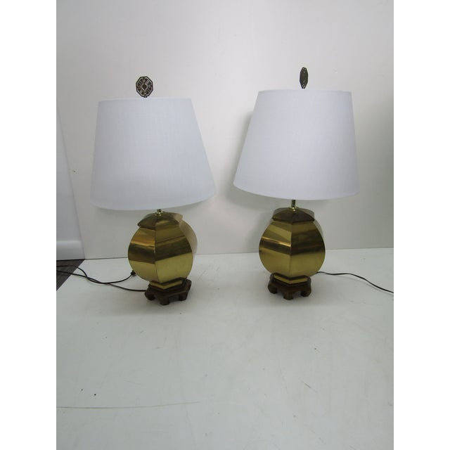 1970s Vintage 1970s Chinoiserie Brass Lamps - a Pair For Sale - Image 5 of 6