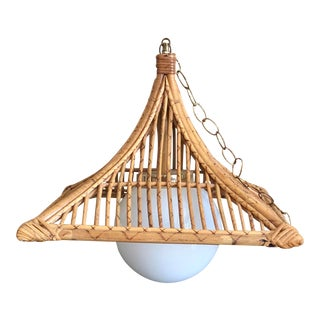 1960s Hollywood Regency Scortched Bamboo Rattan Pagoda Hanging Light For Sale
