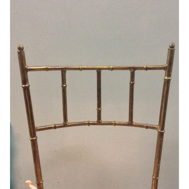 Italian Gilt Metal Faux Bamboo-Style Chair - Image 6 of 7