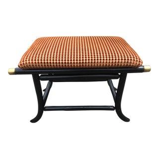 Asian Inspired Brunschwig Upholstered Ottoman For Sale