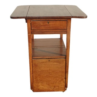 Antique French Country Farmhouse File Cabinet Dropleaf Side Table on Castors For Sale