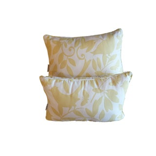Waverly Gold/Yellow Bird Pattern Decorative Throw Pillows - a Pair