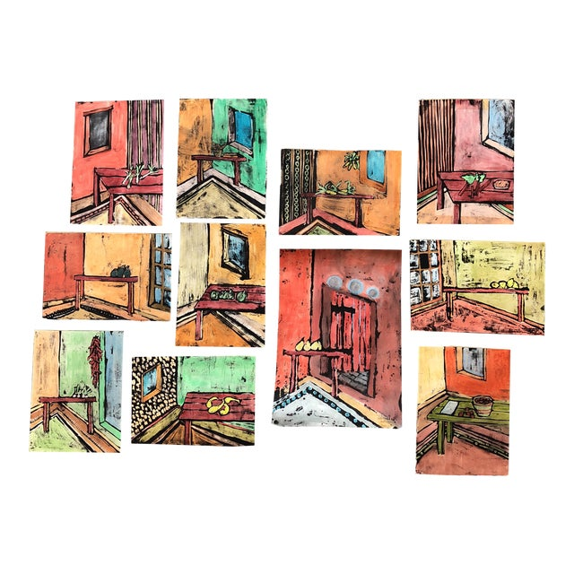 """Collection 11 Original Vintage Gouache Paintings """"Sur La Table"""" For Sale"""
