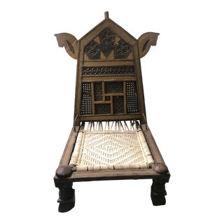 Rustic Indian Low Wooden Chair With Rope Seat For Sale